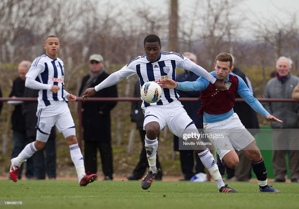 Andreas Weimann of Aston Villa is challenged by Donovan Daniels of West Bromwich Albion during the Barclays Premier Reserve League match between Aston Villa Reserves and West Bromwich Albion Reserves at the club's training ground at Bodymoor Heath on February 21, 2012 in Birmingham, England.