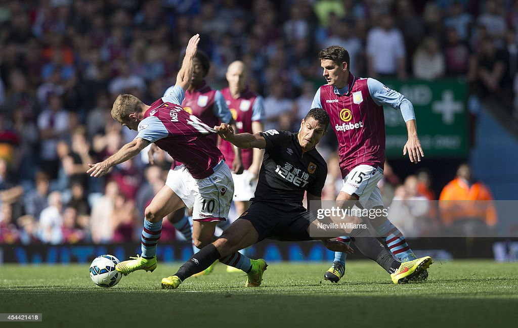 <a gi-track='captionPersonalityLinkClicked' href=/galleries/search?phrase=Andreas+Weimann&family=editorial&specificpeople=5891558 ng-click='$event.stopPropagation()'>Andreas Weimann</a> of Aston Villa is challenged by Tom Ince of Hull City during the Barclays Premier League match between Aston Villa and Hull City at Villa Park on August 31, 2014 in Birmingham, England.