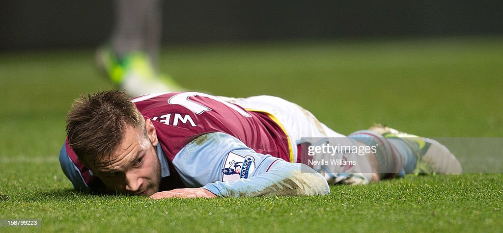 Andreas Weimann of Aston Villa lies on the pitch during the Barclays Premier League match between Aston Villa and Wigan Athletic at Villa Park on December 29, 2012 in Birmingham, England.