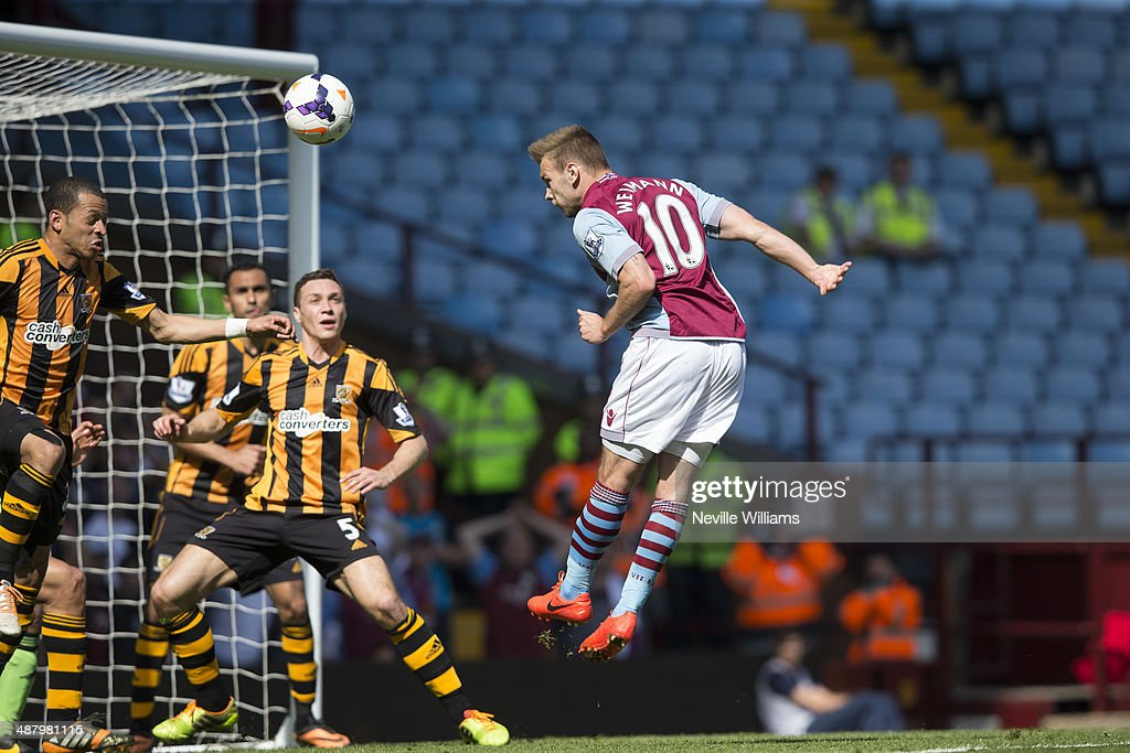 Andreas Weimann of Aston Villa scores his first goal for Aston Villa during the Barclays Premier League match between Aston Villa and Hull City at Villa Park on May 03, 2014 in Birmingham, England.