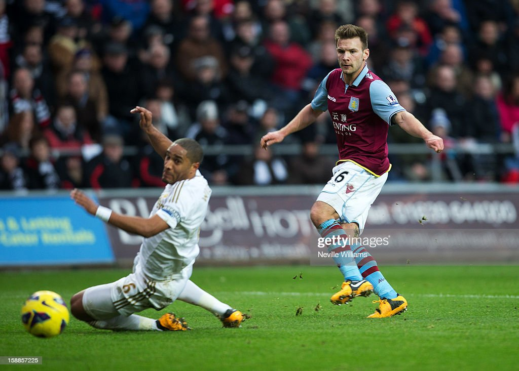 <a gi-track='captionPersonalityLinkClicked' href=/galleries/search?phrase=Andreas+Weimann&family=editorial&specificpeople=5891558 ng-click='$event.stopPropagation()'>Andreas Weimann</a> of Aston Villa scores his goal for Aston Villa during the Barclays Premier League match between Swansea City and Aston Villa at Liberty Stadium on January 01, 2013 in Swansea, Wales.