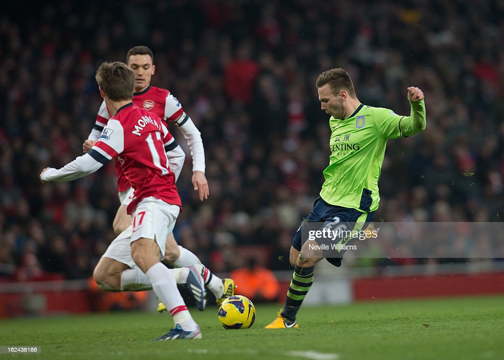 Andreas Weimann of Aston Villa scores his goal for Aston Villa during the Barclays Premier League match between Arsenal and Aston Villa at Emirates Stadium on February 23, 2013 in London, England.