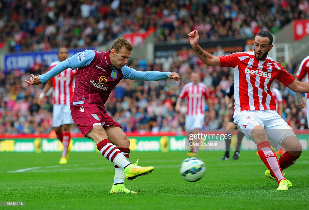 <a gi-track='captionPersonalityLinkClicked' href=/galleries/search?phrase=Andreas+Weimann&family=editorial&specificpeople=5891558 ng-click='$event.stopPropagation()'>Andreas Weimann</a> of Aston Villa scores the opening goal during the Barclays Premier League match between Stoke City and Aston Villa at Britannia Stadium on August 16, 2014 in Stoke on Trent, England.