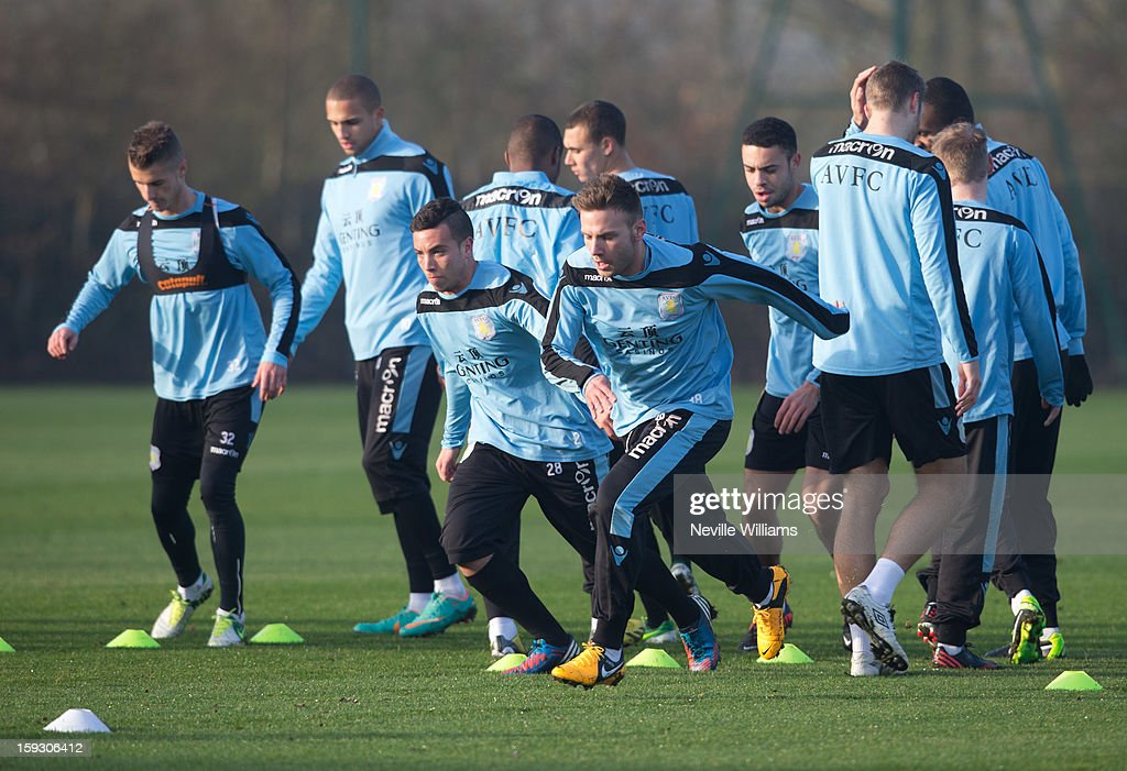 <a gi-track='captionPersonalityLinkClicked' href=/galleries/search?phrase=Andreas+Weimann&family=editorial&specificpeople=5891558 ng-click='$event.stopPropagation()'>Andreas Weimann</a> of Aston Villa trains with team mates during a Aston Villa training session at the club's training ground at Bodymoor Heath on January 11, 2013 in Birmingham, England.