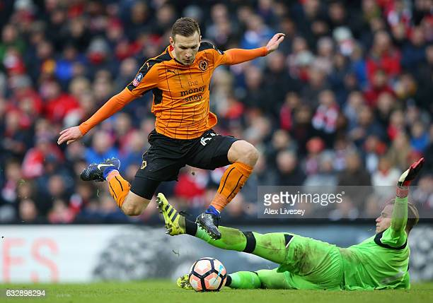 Andreas Weimann of Wolverhampton Wanderers scores his sides second goal during the Emirates FA Cup Fourth Round match between Liverpool and...