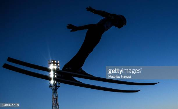Andreas Welling of Germany competes in the trial round for the Men's Ski Jumping HS100 Final during the FIS Nordic World Ski Championships on...
