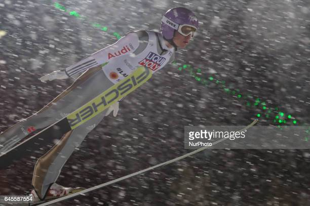 Andreas Wellinger competes in the Mixed Team HS100 Normal Hill Ski Jumping during the FIS Nordic World Ski Championships on February 26 2017 in Lahti...