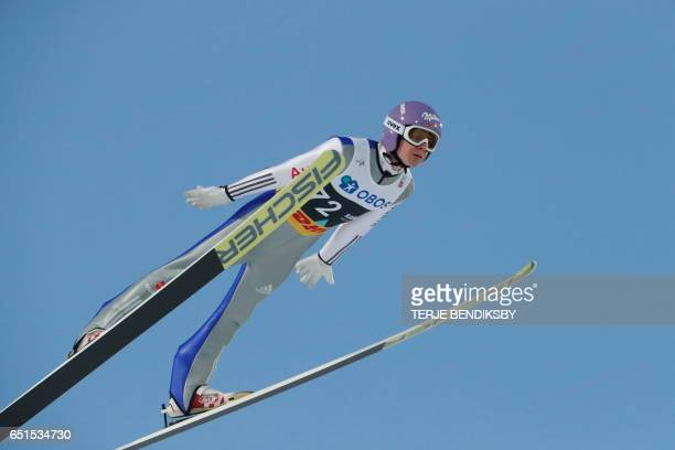 Andreas Wellinger from Germany competes during the qualification round of the Men Large Hill Individual ski jumping competition of the Ski Jumping...