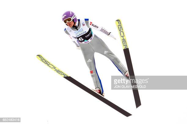 Andreas Wellinger from Germany competes to place second at the Men Large Hill Individual competition of the ski jumping world cup in Oslo on March 12...