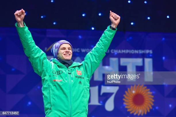 Andreas Wellinger from Germany during the Award Ceremony as he takes the second place in Men Large Hill Individual in ski jumping at FIS Nordic World...