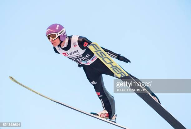 Andreas Wellinger from Germany soars during the FIS Ski Jumping World Cup Men´s Team HS225 in Vikersund on March 18 2017 / AFP PHOTO / NTB Scanpix /...