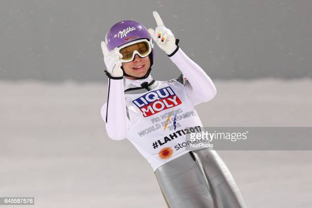 Andreas Wellinger of Germany celebrates after landing his second jump in the Mixed Team HS100 Normal Hill Ski Jumping during the FIS Nordic World Ski...