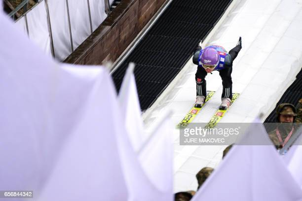 Andreas Wellinger of Germany competes during the FIS Ski Jumping World Cup Flying Hill Individual training session in Planica Slovenia on March 23...