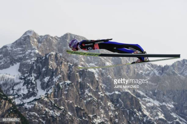 Andreas Wellinger of Germany competes during the FIS Ski Jumping World Cup Flying Hill Individial competition in Planica on March 24 2017 / AFP PHOTO...