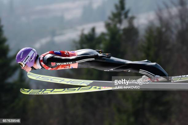 Andreas Wellinger of Germany competes during the FIS Ski Jumping World Cup Flying Hill Team Event in Planica on March 25 2017 / AFP PHOTO / Jure...