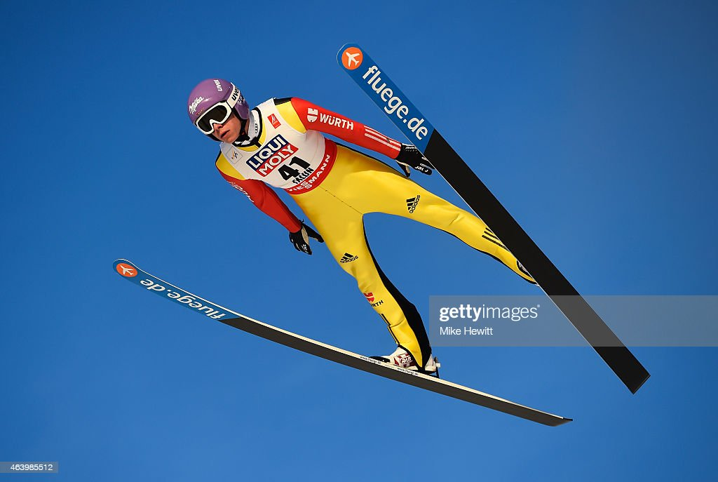 <a gi-track='captionPersonalityLinkClicked' href=/galleries/search?phrase=Andreas+Wellinger&family=editorial&specificpeople=8795492 ng-click='$event.stopPropagation()'>Andreas Wellinger</a> of Germany competes during the Men's HS100 Normal Hill Ski Jumping trial during the FIS Nordic World Ski Championships at the Lugnet venue on February 20, 2015 in Falun, Sweden.