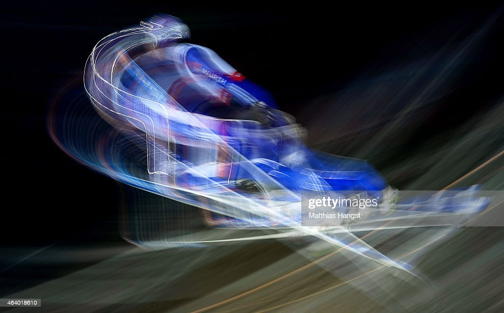 Andreas Wellinger of Germany competes during the Men's HS100 Normal Hill Ski Jumping Qualification during the FIS Nordic World Ski Championships at the Lugnet venue on February 20, 2015 in Falun, Sweden.