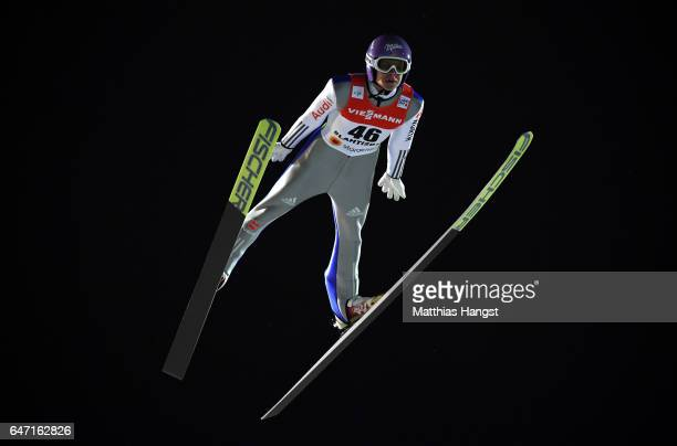 Andreas Wellinger of Germany competes during the Men's Ski Jumping HS130 at the FIS Nordic World Ski Championships on March 2 2017 in Lahti Finland