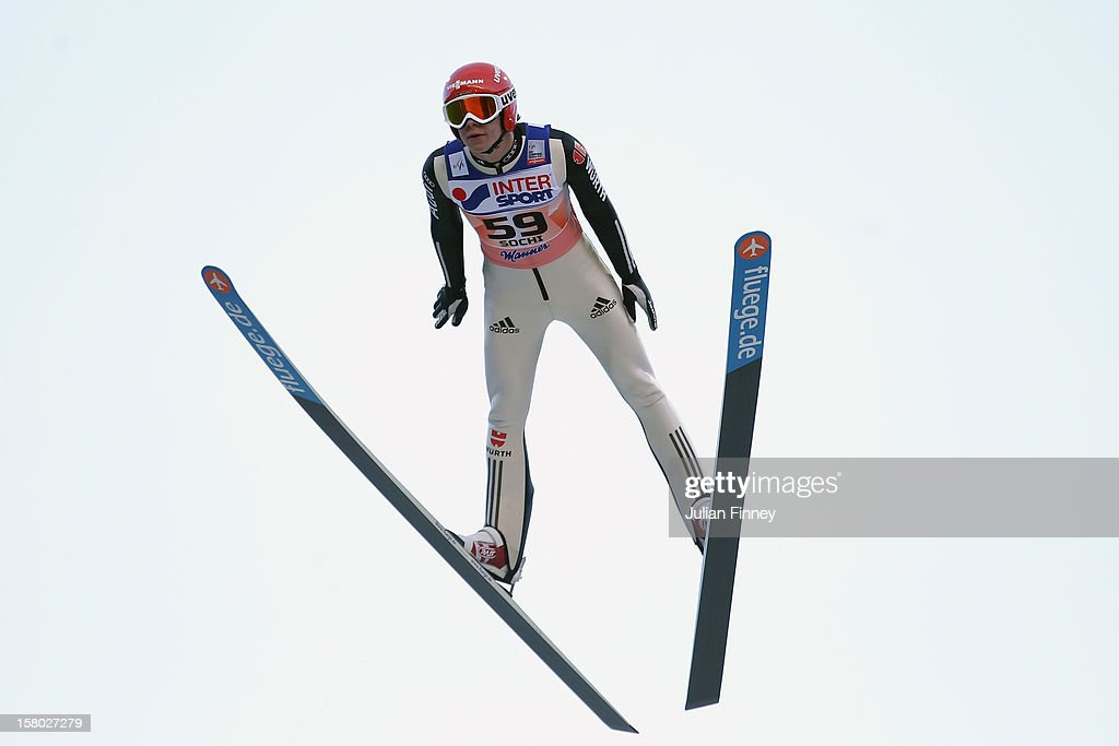 Andreas Wellinger of Germany competes in a Ski Jump during the FIS Ski Jumping World Cup at the RusSki Gorki venue on December 9, 2012 in Sochi, Russia.