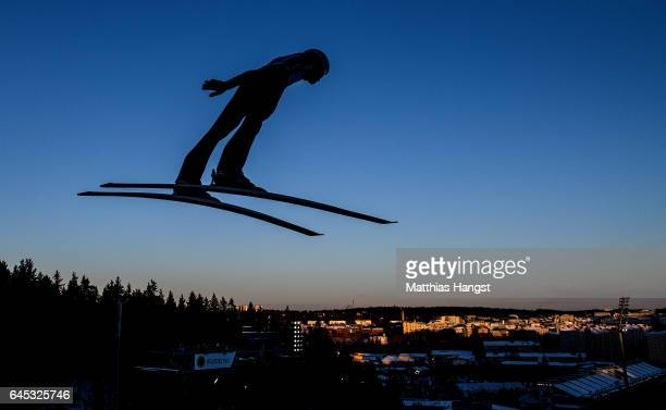 Andreas Wellinger of Germany competes in the trial round for the Men's Ski Jumping HS100 Final during the FIS Nordic World Ski Championships on...