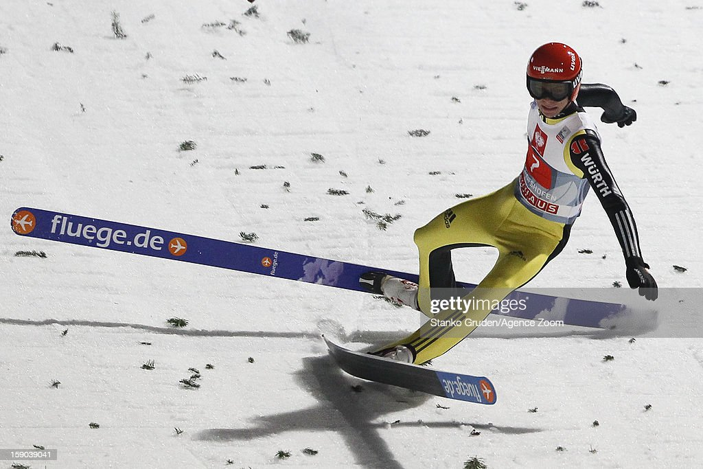 Andreas Wellinger of Germany during the FIS Ski Jumping World Cup Vierschanzentournee (Four Hills Tournament) on January 06, 2013 in Bischofshofen, Austria.