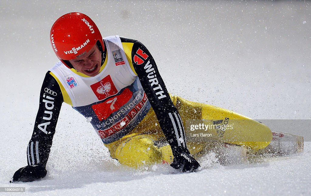Andreas Wellinger of Germany lies in the snow during the first round for the FIS Ski Jumping World Cup event of the 61st Four Hills ski jumping tournament at Paul-Ausserleitner-Schanze on January 6, 2013 in Bischofshofen, Austria.