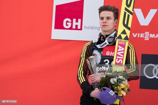 PLANICA SLOVENIA PLANICA SLOVENIA Andreas Wellinger of Germany on the podium celebrating his second place at the Planica FIS Ski Jumping World Cup...
