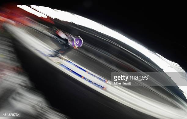 Andreas Wellinger of Germany practices during the Men's Large Hill training during the FIS Nordic World Ski Championships at the Lugnet venue on...