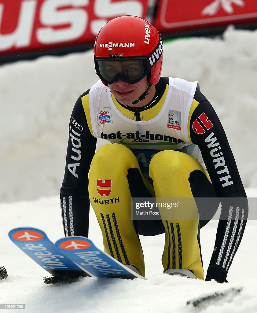 Andreas Wellinger of Germany reacts during the final round for the FIS Ski Jumping World Cup event of the 61st Four Hills ski jumping tournament at Bergisel-Stadion on January 4, 2013 in Innsbruck, Austria.
