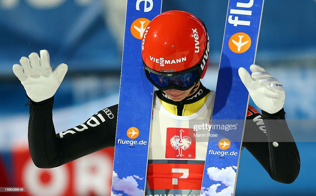 Andreas Wellinger of Germany reacts during the final round of the FIS Ski Jumping World Cup event at the 61st Four Hills ski jumping tournament at Paul-Ausserleitner-Schanzeon January 6, 2013 in Bischofshofen, Austria.