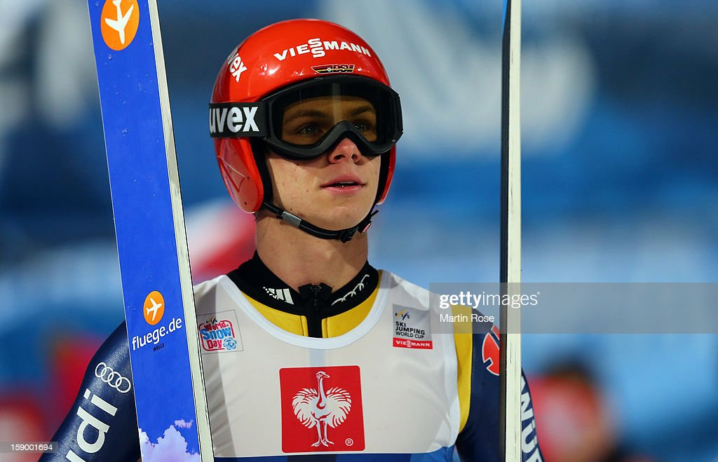 <a gi-track='captionPersonalityLinkClicked' href=/galleries/search?phrase=Andreas+Wellinger&family=editorial&specificpeople=8795492 ng-click='$event.stopPropagation()'>Andreas Wellinger</a> of Germany reacts during the qualification round of the FIS Ski Jumping World Cup event at the 61st Four Hills ski jumping tournament at Paul-Ausserleitner-Schanze on January 5, 2013 in Bischofshofen, Austria.