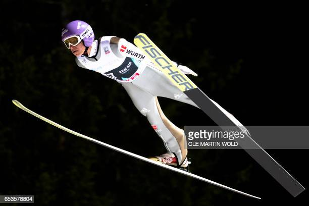 Andreas Wellinger of Germany soars through the air during the qualification for FIS Ski Jumping World Cup Men Large Hill in Trondheim on March 15...