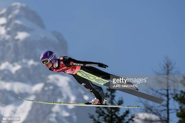 Andreas Wellinger of Germanycompetes during the FIS Ski Jumping World Cup Flying Hill Team Event in Planica Slovenia on March 25 2017 / AFP PHOTO /...