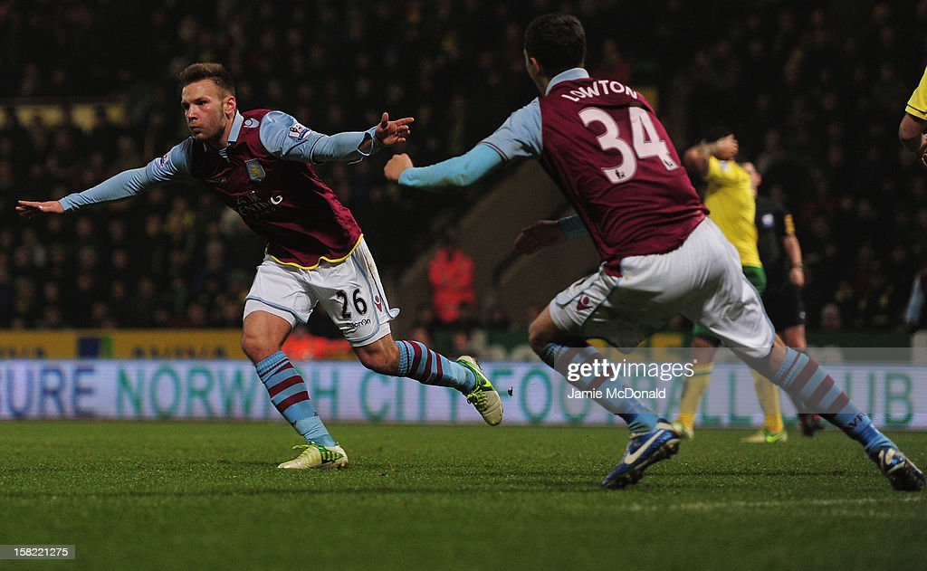 Andreas Wiemann of Aston Villa celebrates his goal during the Capital One Cup Quarter-Final match between Norwich City and Aston Villa at Carrow Road on December 11, 2012 in Norwich, England.