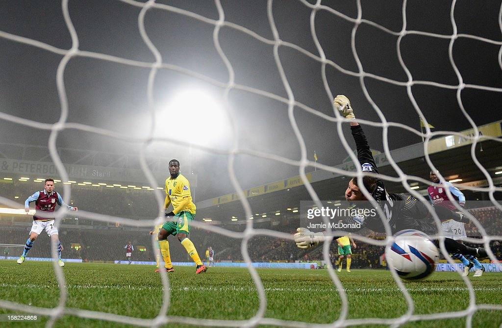 Andreas Wiemann of Aston Villa scores his goal during the Capital One Cup Quarter-Final match between Norwich City and Aston Villa at Carrow Road on December 11, 2012 in Norwich, England.