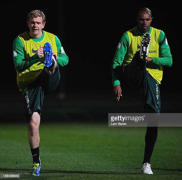 Andreas Wolf and Naldo warm up during a training session at day one of Werder Bremen training camp on January 4 2012 in Belek Turkey