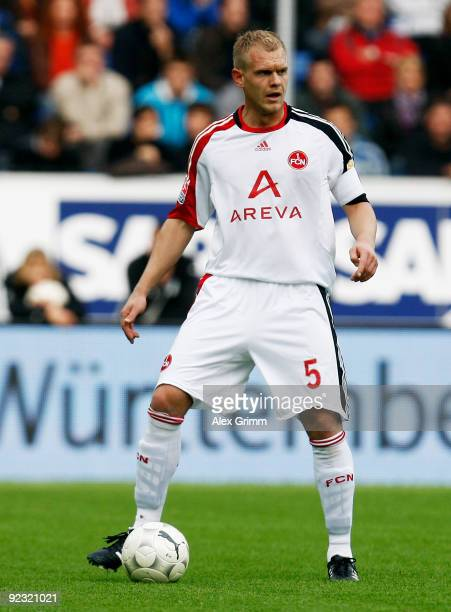 Andreas Wolf of Nuernberg controlls the ball during the Bundesliga match between 1899 Hoffenheim and 1 FC Nuernberg at the RheinNeckar Arena on...