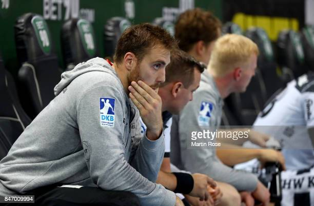 Andreas Wolff goalkeeper of Kiel reacts during the DKB HBL Bundesliga match between THW Kiel and DHfK Leiipzig at Sparkassen Arena on September 14...