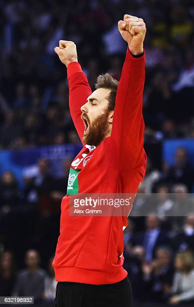 Andreas Wolff of Germany celebrates during the 25th IHF Men's World Championship 2017 match between Germany and Croatia at Kindarena on January 20...