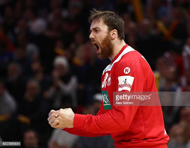 Andreas Wolff of Germany celebrates during the 25th IHF Men's World Championship 2017 Round of 16 match between Germany and Qatar at Accorhotels...