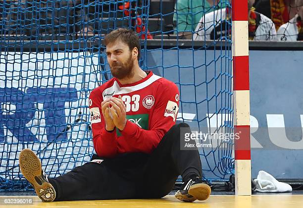 Andreas Wolff of Germany looks dejected after his team got knocked out of the 25th IHF Men's World Championship 2017 Round of 16 match between...