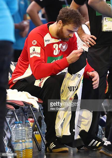 Andreas Wolff of Germany looks dejected after the 25th IHF Men's World Championship 2017 Round of 16 match between Germany and Qatar at Accorhotels...