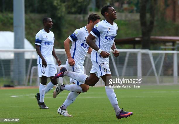 Andreaw Gravillon of FC Internazionale celebrates after scoring a goal during the Viareggio juvenile tournament match between FC Internazionale and...