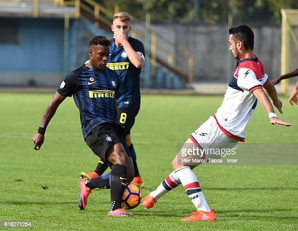 Andreaw Gravillon of FC Internazionale Primavera competes for the ball during the Primavera Tim juvenile match between FC Internazionale and FC...