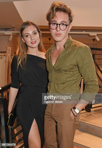 Andreea Cristea and Lucas Andrei attend the Perfect Ten Exhibition in association with Tanqueray No TEN at Harvey Nichols on June 1 2017 in London...