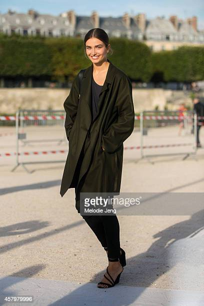 Andreea Diaconu exits Nina Ricci at the Tuileries on Day 3 of Paris Fashion Week Spring/Summer 2015 on September 24 2014 in Paris France