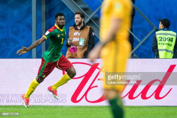 AndreFrank Zambo Anguissa of Cameroon celebrates his teams first goal during the FIFA Confederations Cup Russia 2017 Group B match between Cameroon...