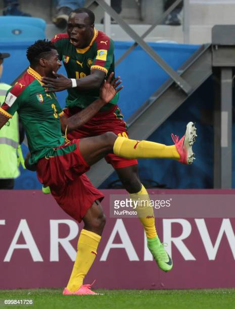 AndreFrank Zambo Anguissa Vincent Aboubakar of the Cameroon national football team celebrates after scoring a goal during the 2017 FIFA...