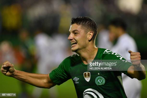 Andrei Girotto of Brazil's Chapecoense celebrates his goal scored against Venezuela's Zulia during their 2017 Copa Libertadores football match held...