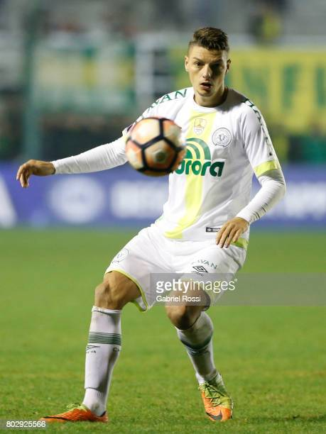 Andrei Girotto of Chapecoense controls the ball during a first leg match between Defensa y Justicia and Chapecoense as part of second round of Copa...